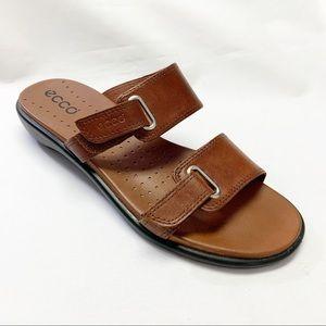 Ecco Brown Strape Sandal with Velcro Fasteners